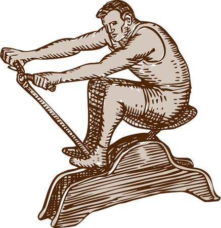 scratch board: Etching engraving handmade style illustration a male athlete exercising riding a vintage rowing machine rowing viewed from the side set on isolated white background.