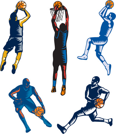 dunking: Collection or set of illustrations of basketball player jump shot jumper shooting jumping dunking and dribbling on isolated white background done in retro woodcut style. Illustration