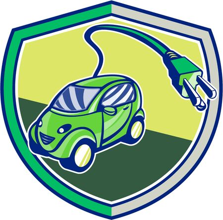 plugin: Illustration of a plug-in hybrid electric vehicle with electric plug coming out set inside shield crest done in retro style.