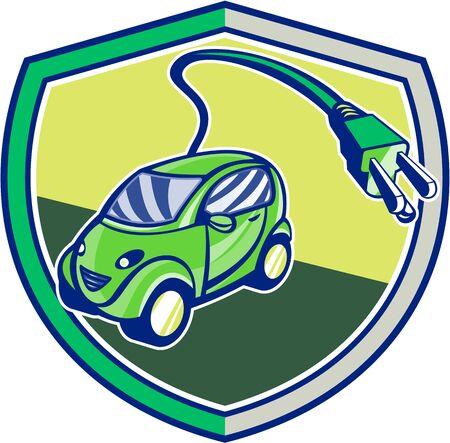 electric vehicle: Illustrazione di un ibrido plug-in veicolo elettrico con spina elettrica in uscita trova all'interno cresta scudo fatto in stile retr�.