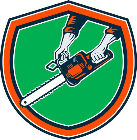 Illustration of hand holding chainsaw chain saw done in retro style on isolated  background set inside shield crest. Illustration