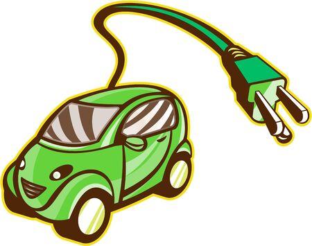 electric vehicle: Illustrazione di un ibrido plug-in veicolo elettrico con spina elettrica in uscita insieme isolato su sfondo fatto in stile retr�.