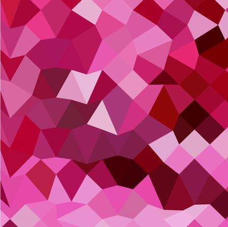 polyhedron: Ilustraci�n de estilo poligonal baja de una cereza de color rosa de fondo abstracto geom�trico. Vectores