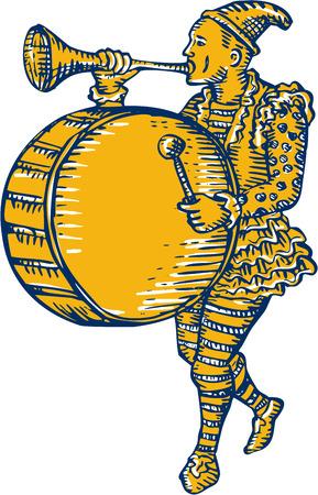 Estilo de ilustración hecha a mano grabado Grabado de un payaso con tambor y la trompeta que sopla marcha se ve desde el lado de conjunto sobre fondo blanco aislado. Ilustración de vector