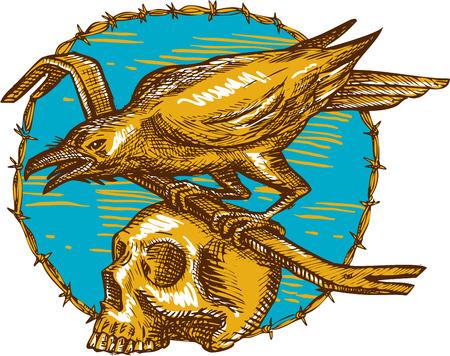 cuervo: Dibujo estilo de ilustraci�n de un p�jaro cuervo posado en una barra de hierro en la parte superior de un cr�neo fij� el c�rculo interior de alambre de p�as, visto desde el lado.