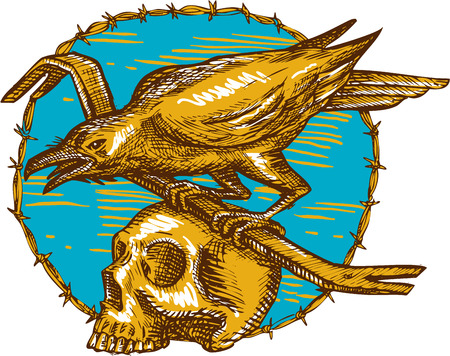 crow: Drawing style illustration of a crow bird perched on a crowbar on top of a skull set inside circle barbed wire viewed from the side.