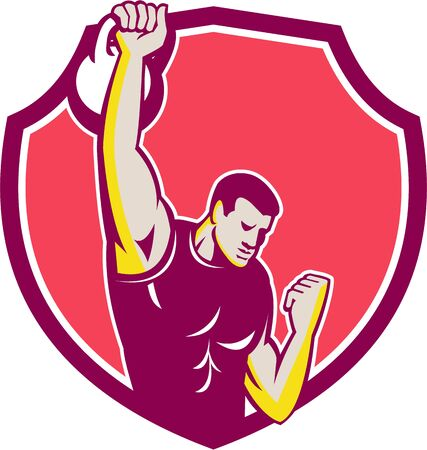 pull: Illustration of an athlete performing a kettlebell one-arm high pull facing front set inside crest done in retro style.