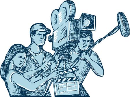 Tekenstijl illustratie van een filmploeg cameraman geluidsman met clapperboard, microfoon, video filmcamera opnames ingesteld op geïsoleerde witte achtergrond.