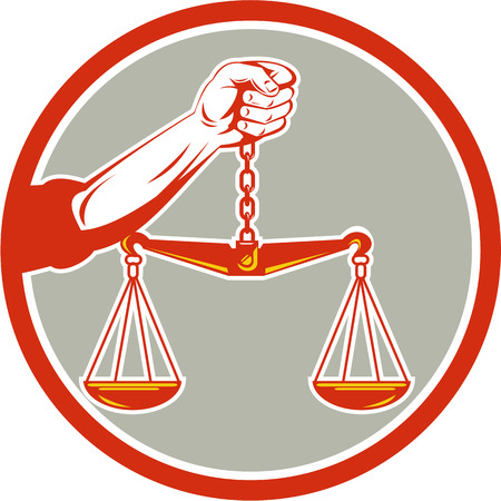 weighing scale: Illustration of a hand holding weighing scale scales of justice viewed from front set inside circle on isolated background done in retro style. Illustration