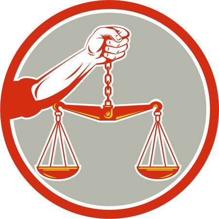 justice scale: Ilustración de una mano que sostiene un peso de escala escalas de la justicia mira desde delante conjunto dentro del círculo en el fondo aislado hecho en estilo retro. Vectores