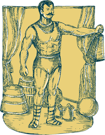 circus performer: Drawing illustration of a strongman circus performer lifting weight on stage with curtain dumbbell barbell in the background. Illustration