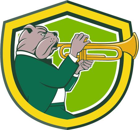 trompeta: Ilustración de un bulldog con un traje que sopla la trompeta visto desde el conjunto de lado dentro cresta escudo sobre fondo aislado hecho en estilo de dibujos animados.