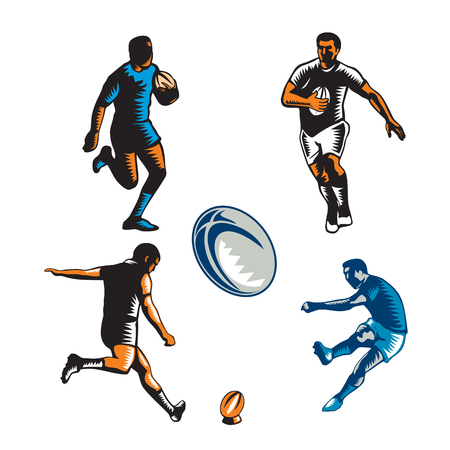 isoalated: Collection or set of illustrations of rugby player kicking and running with ball on isoalated background done in retro woodcut style. Illustration