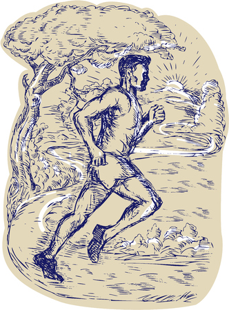 road runner: Drawing illustration of a marathon runner running viewed from the side with road trees mountain sun in the background. Illustration