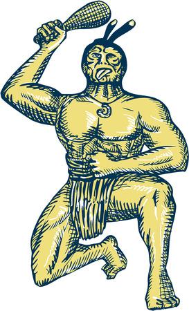 maories: Grabado grabado ilustraci�n de estilo artesanal de un jefe guerrero maor� empu�ando un patu con tatuajes de rodillas sobre una pierna realizando danza de guerra y en la lucha contra la postura frente conjunto frente en fondo blanco aislado.