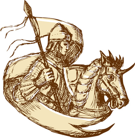 steed: Drawing illustration of knight in full armor riding horse steed holding flag viewed from the side set on isolated white background.
