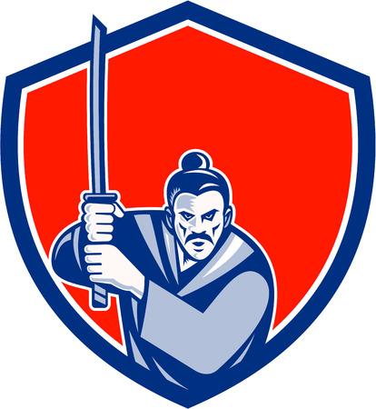 guerrero: Ilustración de un guerrero samurai con espada katana en la lucha contra la postura visto de frente fijó dentro cresta escudo hecho en estilo retro en el fondo aislado.