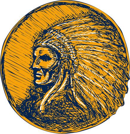 Dessin illustration d'un guerrier amérindien chef indigène à la coiffe face ensemble de côté sur fond isolé. Banque d'images - 40593708
