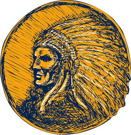 Drawing illustration of a native american indian chief warrior with headdress facing side set on isolated background.