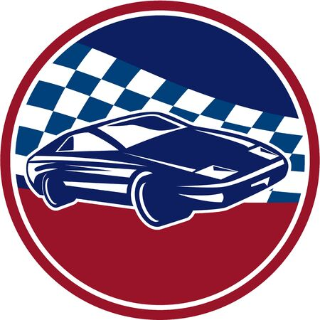 racing flag: Illustration of a sports car racing set inside circle with chequered racing flag in the background done in retro style. Illustration