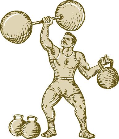 levantar peso: Estilo de ilustración hecha a mano grabado Grabado de un artista de circo hombre fuerte barra en una mano y pesa rusa en cambio fijado en el fondo blanco aislado de elevación.