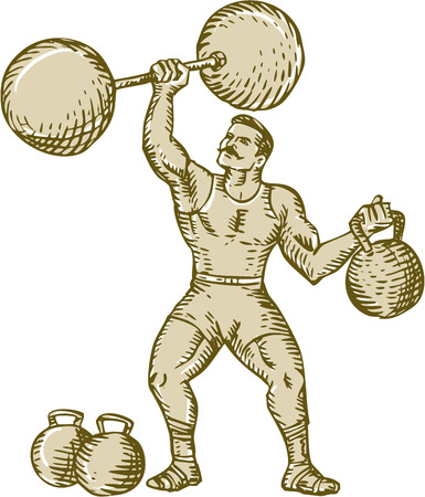 Etching engraving handmade style illustration of a strongman circus performer lifting barbell on one hand and kettlebell on the other hand set on isolated white background. Иллюстрация