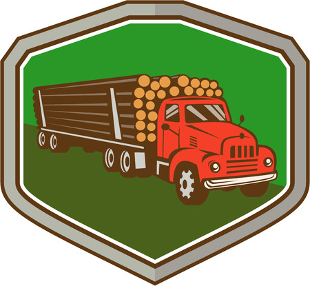 logging: Illustration of a vintage logging truck carrying truckload logs of wood viewed from side front set inside shield crest on isolated background done in retro style.