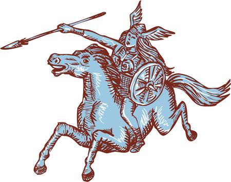 Etsen graveren handgemaakte stijl illustratie van Valkyrie van de Noorse mythologie vrouwelijke amazon warrior ruiter paard met speer ingesteld op witte achtergrond.