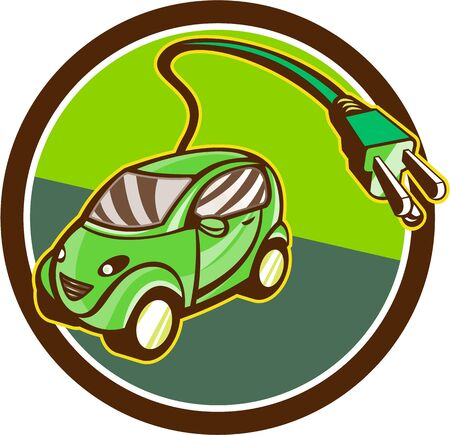 plugin: Illustration of a plug-in hybrid electric vehicle with electric plug coming out set inside circle done in retro style.