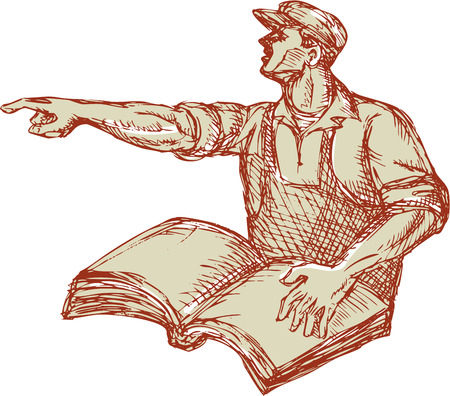 woodblock: Drawing illustration of a protester activist unionist union worker with book pointing to the side set on isolated white background.