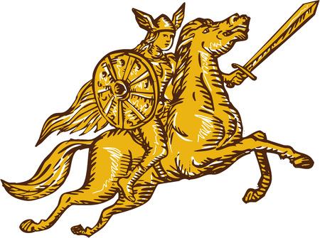 guerrero: Grabado ilustración de estilo artesanal Aguafuerte de valkyrie de la mitología nórdica amazon femenina jinete guerrero montando a caballo con la espada y el escudo situado en el fondo blanco aislado.