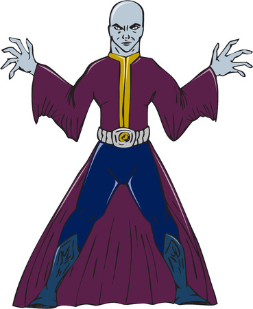 casting: Illustration of a bald sorcerer facing front casting spell set on isolated white background done in cartoon style.