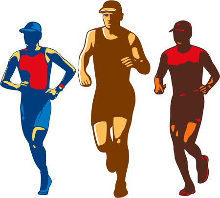 front facing: Illustration of a set or collection of triathlete marathon runner running facing front done in retro style on isolated background. Illustration