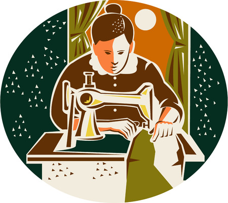 machinist: Illustration of a female seamstress dressmaker with sewing machine sewing set inside oval shape with curtain and moon in the background done in retro style.