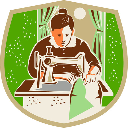 machinist: Illustration of a female seamstress dressmaker with sewing machine sewing set inside shield crest with curtain and moon in the background done in retro style.