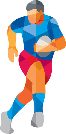 rugby: Low polygon style illustration of a rugby player holding ball running looking to the side set on isolated white background. Illustration
