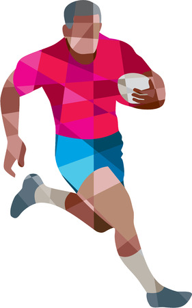 Low polygon style illustration of a rugby player holding ball running to the side set on isolated white background. Illustration