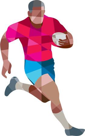 pelota rugby: Ilustración de estilo poligonal baja de una bola sosteniendo jugador de rugby corriendo al conjunto lado en el fondo blanco aislado.