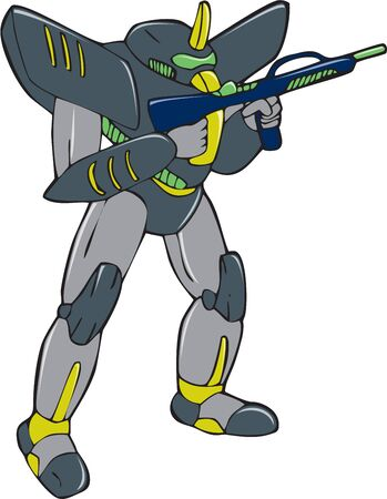 Cartoon style illustration of a mecha robot holding gun viewed from front in an isolated background.
