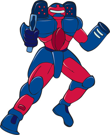 Cartoon style illustration of a mecha robot holding and aiming gun viewed from front in an isolated background.