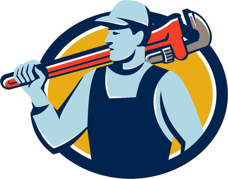 monkey wrench: Illustration of a plumber holding monkey wrench on shoulder looking to the side set inside circle on isolated background done in retro style.