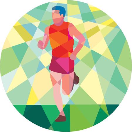 front facing: Low polygon style illustration of marathon triathlete runner running facing front set inside circle.