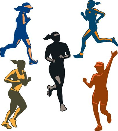 triathlete: Illustration of set or collection of female marathon triathlete runner running winning finishing race on isolated background done in retro style.