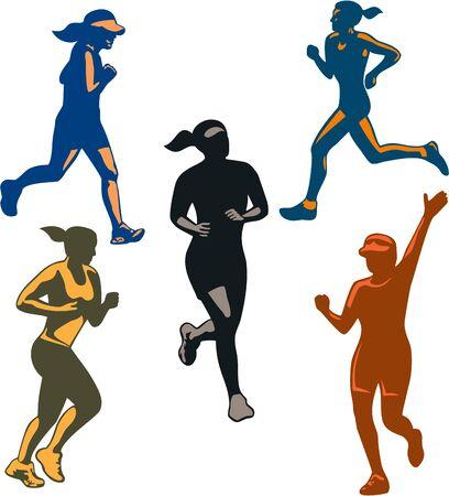 marathon: Illustration of set or collection of female marathon triathlete runner running winning finishing race on isolated background done in retro style.