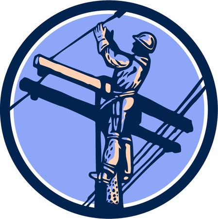 telephone cable: Ilustraci�n de un trabajador del instalador de l�neas de alimentaci�n de tel�fono reparador Clmbing poste el�ctrico reparaci�n de cable de alimentaci�n hecho en estilo retro fij� el c�rculo interior.