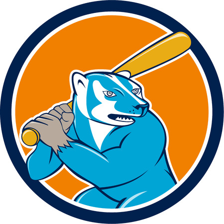 omnivores: Illustration of a badger baseball player holding bat batting set inside circle on isolated background done in cartoon style. Illustration