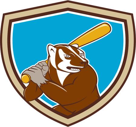 batting: Illustration of a badger baseball player holding bat batting set inside shield crest on isolated background done in cartoon style.