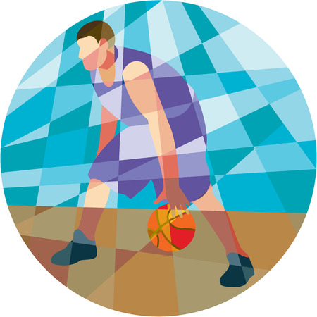 dribbling: Low polygon style illustration of a basketball player dribbling ball facing front set inside circle.