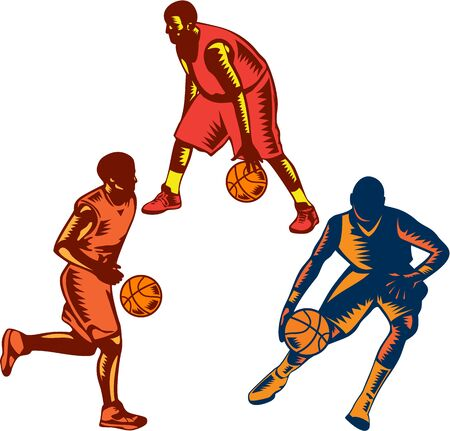 dribbling: Illustration of a collection or set of basketball player dribble dribbling ball on isolated white background done in retro woodcut style. Illustration