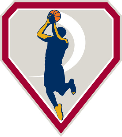 jump shot: Illustration of a basketball player jump shot jumper shooting jumping set inside shield crest on isolated background done in retro style.
